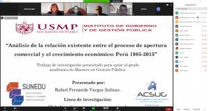 SUSTENTACIÓN DE TRABAJO DE INVESTIGACIÓN, GRADO MAESTRO EN GESTIÓN PUBLICA ALUMNO:  RAFAEL FERNANDO VARGAS SALINAS 15/07/2020