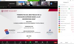 SUSTENTACIÓN DE TESÍS, GRADO DOCTOR EN GOBIERNO Y POLÍTICAS PÚBLICAS ALUMNO : AARON JOSE ORE LEON 15/02/2021